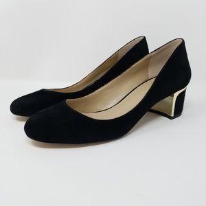 Ann Taylor Black Suede Round Toe  Block Heels, 7.5
